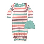 Finn by Finn + Emma® Size 0-3M Organic Cotton 2-Piece Striped Gown and Hat Set