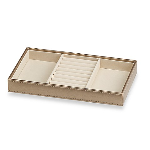 ampersand small 3 compartment stackable jewelry tray in