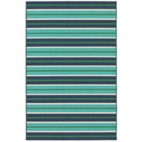 Cabana Bay Seaside 3'7 x 5'6 Indoor/Outdoor Area Rug in Blue