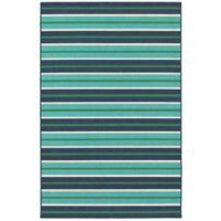 Cabana Bay Seaside 6'7 x 9'6 Indoor/Outdoor Area Rug in Blue
