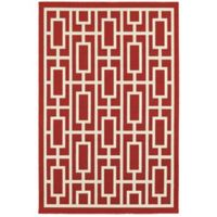 Cabana Bay Seaside Geometric 3'7 x 5'6 Indoor/Outdoor Area Rug in Red
