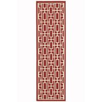 Cabana Bay Seaside Geometric 7'6 Indoor/Outdoor Runner in Red