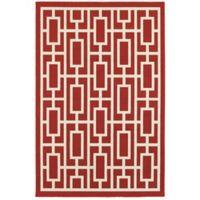 Cabana Bay Seaside Geometric 7'10 x 10'10 Indoor/Outdoor Area Rug in Red