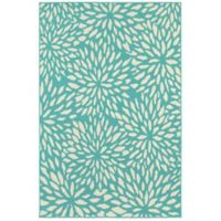 Cabana Bay Seaside Floral 3'7 x 5'6 Indoor/Outdoor Area Rug in Blue