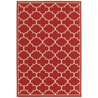 Cabana Bay Seaside Trellis 8'6 x 13' Indoor/Outdoor Rug in Red