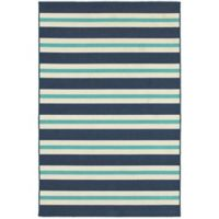 Cabana Bay Seaside Stripe 3'7 x 5'6 Indoor/Outdoor Area Rug in Blue