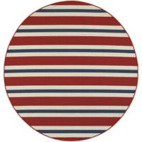 Cabana Bay Seaside Stripe 7'10 Round Indoor/Outdoor Area Rug in Red