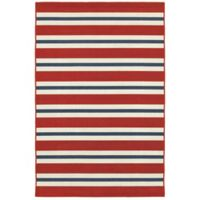 Cabana Bay Seaside Stripe 7'10 x 10'10 Indoor/Outdoor Area Rug in Red