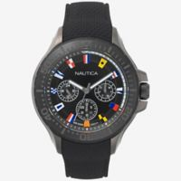 Nautica® Auckland Men's 49mm Multifunctional Watch in Black Ion-Plated Stainless Steel