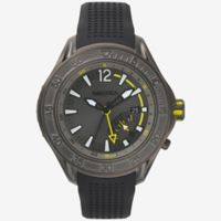 Nautica® Breakwater Men's 50mm Watch in Brushed Ion-Plated Gunmetal with Black Silicone Strap