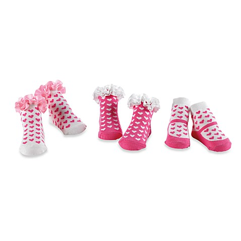 Mud Pie® Size 0-12M Pink Heart Socks (Set of 3)