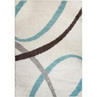 """Home Dynamix Synergy by Nicole Miller Abstract 3'3"""" x 4'3"""" Accent Rug in White/Blue"""
