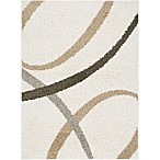 "Home Dynamix Synergy by Nicole Miller Abstract 3'3"" x 4'3"" Accent Rug in White/Beige"