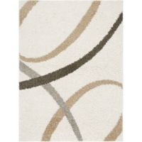 """Home Dynamix Synergy by Nicole Miller Abstract 3'3"""" x 4'3"""" Accent Rug in White/Beige"""