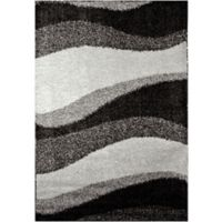 """Home Dynamix Synergy by Nicole Miller Wave 5'2"""" x 7'2"""" Area Rug in Grey"""