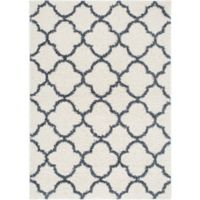 """Home Dynamix Synergy by Nicole Miller Trellis 3'3"""" x 4'3"""" Accent Rug in White/Blue"""