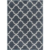 """Home Dynamix Synergy by Nicole Miller Trellis 3'3"""" x 4'3"""" Accent Rug in Blue/White"""