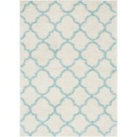 "Home Dynamix Synergy by Nicole Miller Trellis 7'9"" x 10'2"" Area Rug in White/Aqua"