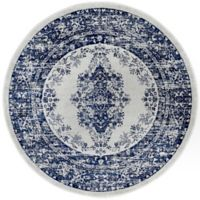 """Home Dynamix Vintage Distressed 6'6"""" Round Area Rug in Grey/Blue"""