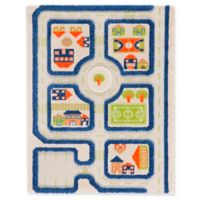 "IVI Traffic 2'7"" x 3'8"" 3-Dimensional Play Rug in Blue"