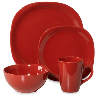 Thomson Pottery Quadro 16-Piece Dinnerware Set in Red  sc 1 st  Bed Bath \u0026 Beyond : red tableware set - pezcame.com