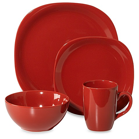 Quadro 16 piece dinnerware set in red www bedbathandbeyond com