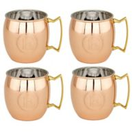 "Old Dutch International Solid Copper Monogram Block Letter ""E"" Moscow Mule Mugs (Set of 4)"