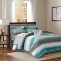 Madison Park Essentials Saben 7-Piece Twin Complete Comforter and Cotton Sheet Set in Aqua