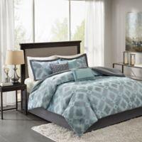 Madison Park Beckett Queen Comforter Set in Aqua