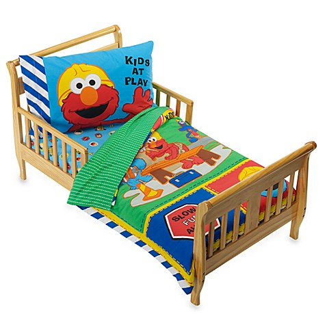 Sesame Street Construction 4-Piece Toddler Bedding Set