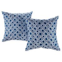 Modway Outdoor Patio Square Throw Pillows in Blue/White (Set of 2)