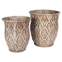 Household Essentials® Etched Metal Floor Vases in Taupe (Set of 2)
