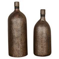 Uttermost Biren Textured Vases in Antiqued Gold (Set of 2)