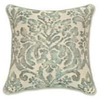 Rose Tree Dresden Ikat Square Throw Pillow in Spa