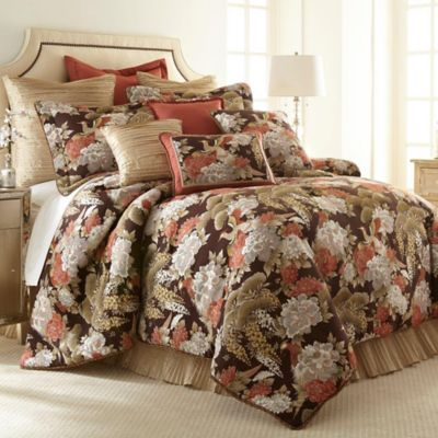 Austin Horn Classics Paradise Peacock 3 Piece California King Comforter Set  In Brown/Coral