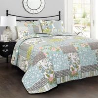 Lush Décor Roesser Reversible King Quilt Set in Blue