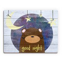 "Astra Art ""Good Night"" 11-Inch x 14-Inch Wood Wall Art in Blue"
