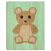Astra Art Teddy Bear Spring 14-Inch x 11-Inch Wood Wall Art