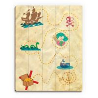 Astra Art Treasure Map 14-Inch x 11-Inch Wood Wall Art