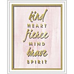 "Linden Ave ""Kind Fierce Brave"" 8-Inch x 10-Inch Shadowbox Wall Art"