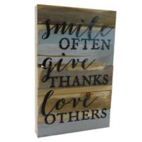 "Sweet Bird & Co. ""Smile, Give, Love"" 12-Inch x 18-Inch Wooden Wall Art"