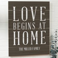 Love Begins at Home 16-Inch x 20-Inch Wood Slat Sign