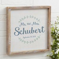 Mr. and Mrs. Laurel Leaf 12-Inch Square Barnwood Framed Wall Art