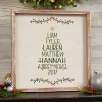 Christmas Family Tree Barnwood 12-Inch Square Framed Wall Art