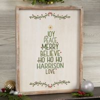 Christmas Family Tree Barnwood 14-Inch x 18-Inch Framed Wall Art