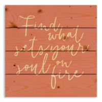 """Designs Direct """"Sets Your Soul on Fire"""" 14-Inch Square Pallet Wood Wall Art"""