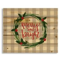 "Designs Direct ""Merry and Bright"" 22-Inch x 18-Inch Pallet Wood Wall Art"