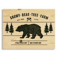 "Designs Direct ""Snowy Bear Tree Farm"" 10.5-Inch x 14-Inch Pallet Wood Wall Art"
