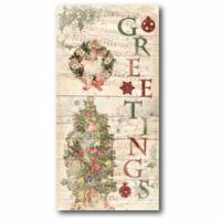"""Courtside Market """"Holiday Greetings"""" 12-Inch x 24-Inch Canvas Wall Art"""