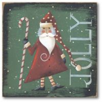 "Courtside Market ""Jolly"" Christmas Santa 16-Inch Square Canvas Wall Art"